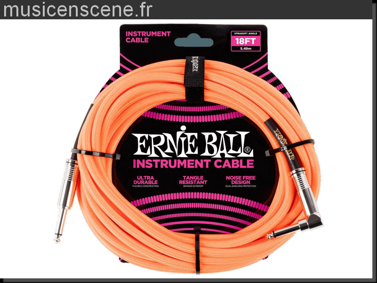 ERNIE BALL Câble Jack/Jack 5.5m Gaine Tissée Orange Fluo